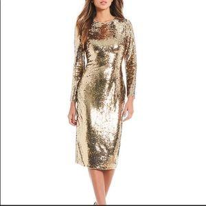 NWT Gianni Bini Zoe Gold Sequin Dress - Midi